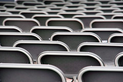 Sillas (Mimadeo) Tags: blackandwhite white black game public lines sport bench grey chair pattern audience stadium many background empty seat gray nobody row line arena plastic event rows seats sit repetition presentation seating