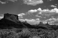 Sandstone Castles (San Francisco Gal) Tags: sky blackandwhite bw cloud tower nature landscape utah sandstone desert bn formation wingates