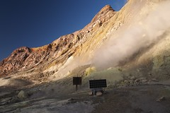 Scientific intruments near the fumaroles (blue polaris) Tags: ocean new travel sea white landscape island vent volcano bay scenery pacific north olympus aerial steam helicopter zealand crater nz geo volcanic geothermal plenty frontier vents omd bop whakatane fumarole fumaroles em5 whaakari