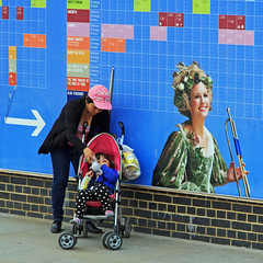 Blue Stockings (stevedexteruk) Tags: street baby london photography globe child theatre candid mother callender pram bankside shakespear 2013