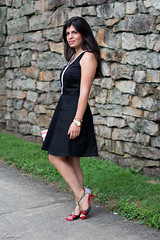 little preppy black dress-1.jpg (LyddieGal) Tags: red summer blackandwhite black fashion cherry outfit dress stripes style anchor wardrobe lbd officestyle thredup