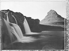 Kirkjufell (Bastiank80) Tags: camera bw white mountain black film field analog polaroid waterfall iceland long exposure large scan negative instant 4x5 format 55 expired kirkjufell snæfellsness wista bastiank