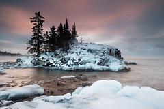 Winter Tombolo (johannesmarliem78) Tags: winter snow cold ice minnesota sunrise mn lakesuperior seasmoke tombolo superhikingtrail