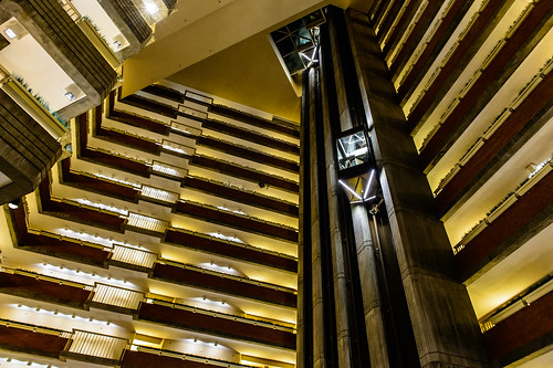 panoramic elevator in the interior of a hotel