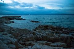 Morning shadow (Tomislav C.) Tags: morning sky moon mountains beach nature clouds sunrise landscape coast dock rocks waves natural branches horizon croatia adriatic seas sea
