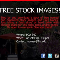 "Good afternoon everyone! Don't forget to stop by PCA 340 for our Hard Drive Swap event! We will be giving out free stock images for your renderings! #nomas #nomasfiu • <a style=""font-size:0.8em;"" href=""http://www.flickr.com/photos/109776203@N02/12075956864/"" target=""_blank"">View on Flickr</a>"