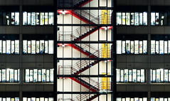 Stairs (MarkE_T) Tags: windows red glass night stairs stairwell yellowdoor smcpentaxda1645mmf4edal pentaxk5