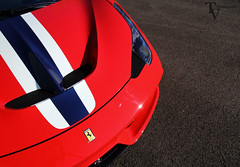 Speciale stripes. (TV Photography) Tags: blue red horse sun grass photoshoot stripes ferrari headlights speciale prancing 458