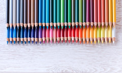 Colour pencils on white table (♥Oxygen♥) Tags: colour color colorful pen tip crayon paint nobody vibrant green white sketching row red brown concept yellow spectrum bright orange pastel drawing assortment vertical black equipment multicolored arrangement palette pink object wood purple design group blue pencil school paper pointing education draw art bunch wooden background instrument college rainbow