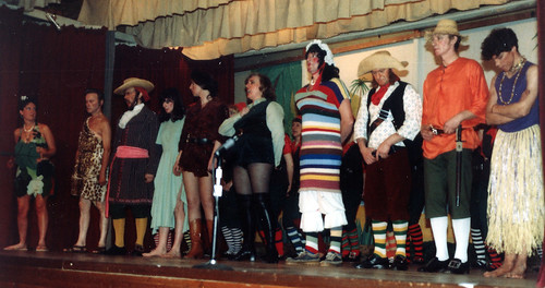 1983 Robinson Crusoe 12 (from left Barbara Hutt, Ted Hampton, Chris Birkby, x,June Francis,Pauline Womersley,Bryan Prince,x,Ken Fielding,Tim Daniels)