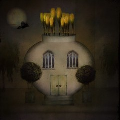 Once Upon a Time... (jimlaskowicz) Tags: moon surreal impressionistic textures painterly artistic illustration daffodil house tale story