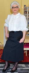 Ingrid023820 (ingrid_bach61) Tags: pleatedskirt faltenrock buttonthrough durchgeknöpft blouse bluse mature