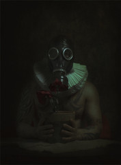 Withered. (jcalveraphotography) Tags: selfportrait selfie serie studio mask flowers withered portrait photo photographer projects people picture pictorialism 365 explore