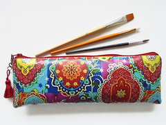 Waterproof brush/pencil bag. (Jigglemawiggle) Tags: waterproofcase pencilcase brushbag artist artgift colourpop colourful indianprint jigglemawiggle etsy folksy handmade scotland
