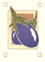 Eggplant (Japanese Flower and Bird Art) Tags: flower eggplant solanum melongena solanaceae yoshiko yamamoto modern woodblock print japan japanese art readercollection
