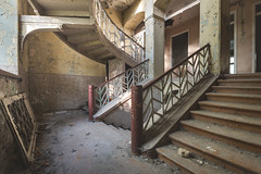 Flyover Stairs (ProfShot - Perry Wiertz) Tags: urban urbex stairs staircase window light lightfall handrail rail ceiling floor shadow abandoned architecture decayed decay hidden lost old dust rust forbidden forgotten villa traveling derelict