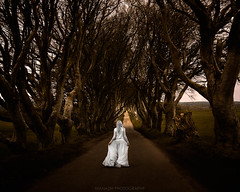 The Dark Hedges (Manadh) Tags: manadh pentax k3 sigma landscape conceptual portrait darkart thedarkhedges walking alone whitehair whitedress 1835mm