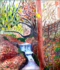 Stream by the Alhambra (Dr Graham Beards) Tags: andalucia alhambra granada spain stream watercolor watercolour