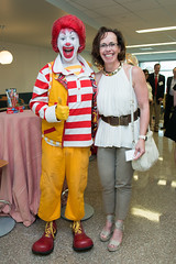 Ronald McDonald with Cari Sepulveda at the five year celebration of the Ronald McDonald Care Mobile™. (UTHealth) Tags: ronald mcdonald care mobile uthealth school dentistry houston texas children health dental