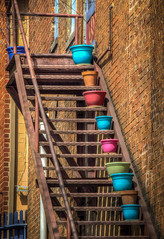 Pastel Pots (Explore 4-1-17) (donnieking1811) Tags: tennessee jonesborough pastel pots stairs outdoors hdr canon 60d travelplanet
