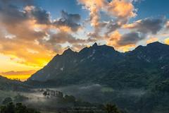 Mountain at sunrise (Wutlufaipy) Tags: thailand landscape sky sunrise mountain mist nikon d610 chiang mai morning tree forest beautiful