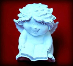 ~Sunday..a great day for a smile!~ (nushuz) Tags: smilingobjects cherubfigurine smiling holdingabook onred sooocute resinfigurine chubbycherub wings smileonsunday
