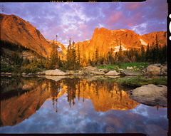 Alpenglow Over Two Rivers Lake - Povia Version (AlexBurke) Tags: colorado landscape 4x5 film provia fuji reflection moon sunrise mountains hiking outdoors water sky alpenglow rocky mountain national park rmnp large format