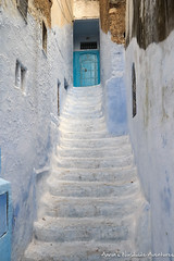 A Staircase in Chefchaouen Medina (adventurousness) Tags: bluecity chefchaouenthebluepearl thebluecity blue chaouen chefchaouen morocco travel medina staircase