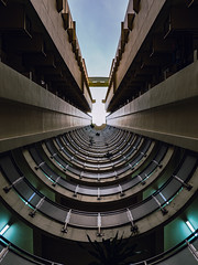 Symmetry (hackdragon) Tags: nophotoshop nophotoshoppedaeroplane nothereisntanairplane symmetry tunnel hdb flat looking up apartment building high rise amazing beautiful wallpaper singapore fluorescent light bulb skies cloud sky concrete architecture residential shadows fujifilm gfx 50s 3264mm f4 r lm
