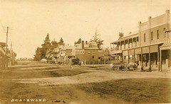 Braidwood, N.S.W. - early 1900s (Aussie~mobs) Tags: streetscape braidwood newsouthwales australia vintage automobile car horse cart pspain baker bakery