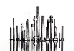 hardware city skyline (auntneecey) Tags: hardwarecityskyline playingwithstuffaroundthehouse notmyoriginalidea 365the2017edition 3652017 day111365 21apr17 screws nails hardware reflection