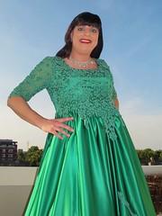 Feminine contours (Paula Satijn) Tags: girl dress gown green skirt satin silk silky shiny ballgown gurl tgirl happy smile joy outside sky