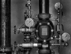 Adjustment (arbyreed) Tags: arbyreed monochrome bw blackandwhite pipes infrastructure urbandetails valves guages firesupressionsystem controlsystem analog analogguages