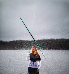 Spin (brendon_curtis) Tags: canon eos 5dmkiii 5d mkiii mk iii usm 50mm f12l f12 l lens prime portrait rain raining splash water droplets lake pond river ocean h2o staff bow attack fighting fighter girl teen female battle