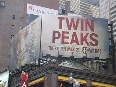 Twin Peaks - The Return Bus AD Billboard Poster 4789 (Brechtbug) Tags: twin peaks the return bus ad billboard poster laura palmer sheryl lee fbi agent dale cooper kyle maclachlan mystery 90s show showtime type mysteriuos bird birds owl owls may 05212017 9pm 2017 what they seem that gum you like is going come back style finally already nyc broadway 50th st near times square midtown manhattan street new york city streets