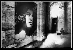 Photo artistry - alone (mcleod.robbie) Tags: black white girl woman dream library museum alone desolate isolated lunch furnancefashionedphotography tone contrast low key dark light creative sit art finearts wall hall