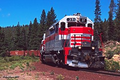 Switchback Tail Track (C.P. Kirkie) Tags: mccloudcalifornia mccloud mountshasta siskiyoucounty railroads trains mccloudrailway switchback chipcar mr sd38 emd forest freighttrain