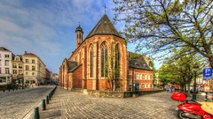 Church HDR (Ⓨ a s m i n e Ⓗ e n s +4 900 000 thx❀) Tags: canon canoneos750d canon750d hdr church belgium belgique bruxelles brussels city town blue sky clouds hensyasmine road 8mm neewerpro fisheye