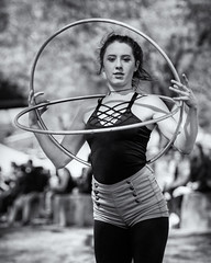 Circularly Framed (Ian Sane) Tags: ian sane images circularlyframed woman street performer black white candid photography governor tom mccall waterfront park downtown portland oregon willamette river saturday market canon eos 5d mark ii two camera ef70200mm f28l is usm lens