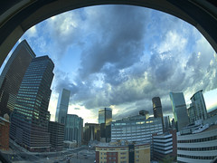 Cloudy Sunset with fisheye (uptownguydenver) Tags: denver colorado grantstreet architecture architectural structures building edifice edifices commercialbuilding skyscraper residentialbuilding misccityview lightning cloudporn clouds captureone xfiq3100 phaseone sunset fisheye fisheyelens mamiya24mm imagecolorstyleformat cityscape skyline timeofday environment scenery sky cloud usa