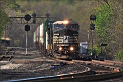 April Morning on the Pittsburgh Line (Images by A.J.) Tags: train railroad rail prr signal torrance stack containter intermodal pack transportation freight pennsylvania norfolk southern pittsburgh line laurel highlands westmoreland