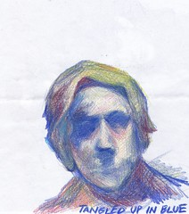 Tangled Up In Blue (Norenko) Tags: woman pencil blue colors sketch face