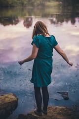 99/365 (Chris Gray Photo) Tags: river water lake sky reflection portrait girl dress portraiture nature outdoors people 365project canon 50mm