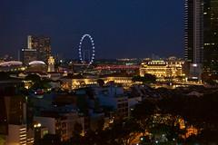 Night view over Singapore (UweBKK (α 77 on )) Tags: sony alpha 77 slt dslr singapore night view urban city dark flyer fullerton river buildings cbd