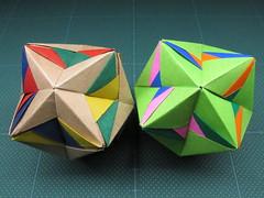 "Origami, Sonobe variations, ""Derivatives of Delta"" (Masaya2012) Tags: sonobe くす玉 薗部 ユニット kusudama modular modularorigami sonobevariation 模様 折り紙"