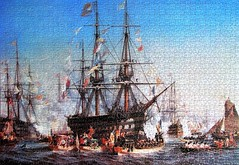 Napoleon III Receiving Queen Victoria at Cherbourg (pefkosmad) Tags: jigsaw puzzle hobby leisure pastime 1500pieces used secondhand complete falcon painting art napoleoniiireceivingqueenvictoriaatcherbourg julesnoel seascape ship vessel