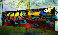 HOOSER (Steve Taylor (Photography)) Tags: hooser 2016 arrow jf e art graffiti digital mural streetart tag wall colourful brick newzealand nz southisland canterbury christchurch cbd city