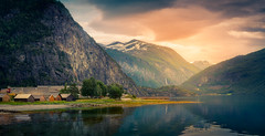 Norwegian Fjord (andreassofus) Tags: landscape nature fjord mountains mountainscape water reflections cabins clouds norway summer summertime travel travelphotography canon manffrotto outdoor