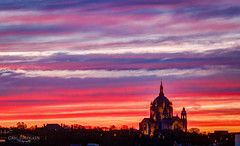Layers (Greg Lundgren Photography) Tags: cathedral saintpaul stpaul cathedralofsaintpaul minnesota twincities sunset dusk urban cityscape cathedralhill purple magenta orange red yellow colorful weather sky clouds