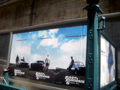 Fast and Furious 6 Billboard ADs  0230 (Brechtbug) Tags: new york city nyc urban 6 cinema cars up car racecar work painting movie poster square this drive smash paint theater driving all action crash near working fast racing billboard advertisement chase billboards worker roads em six lead herald furious 2013
